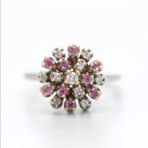 Jewelry - 14 k solid white gold ruby and diamond